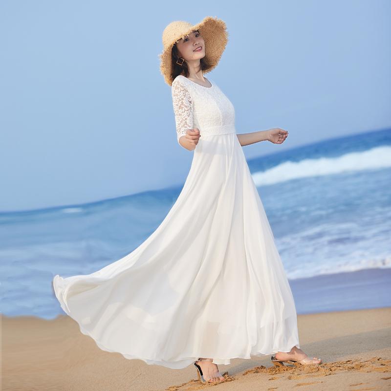 白色连衣裙 2020新款女气质长裙大摆长款连衣裙夏修身白色裙子蕾丝拼接沙滩裙_推荐淘宝好看的白色连衣裙
