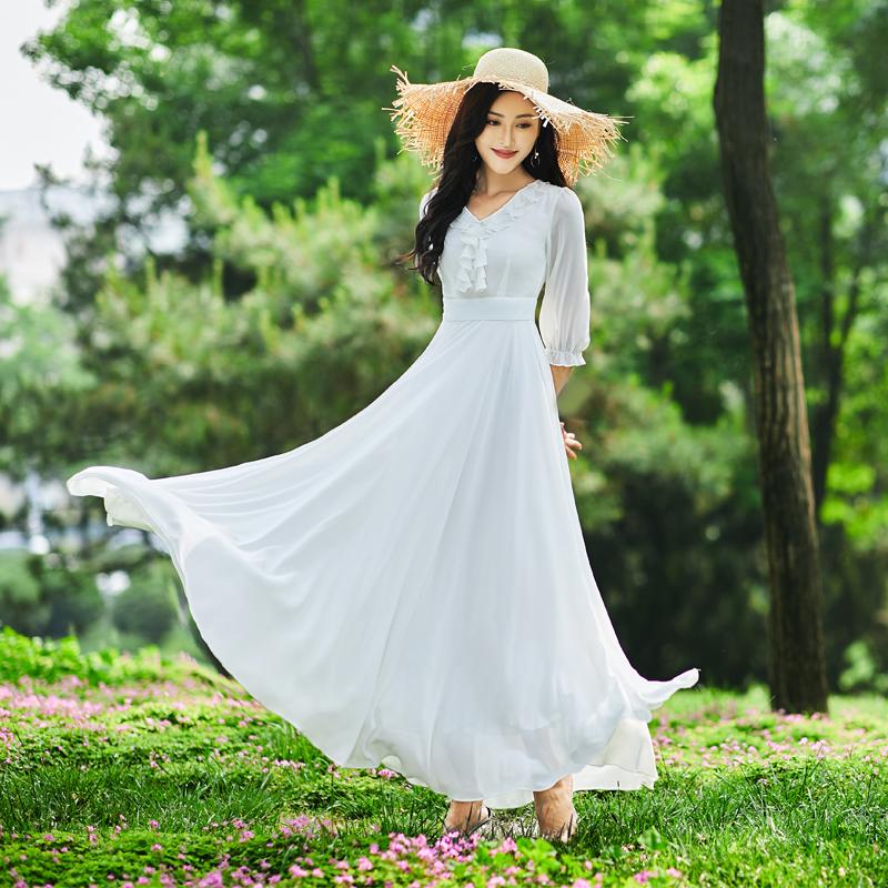 白色连衣裙 连衣裙仙女风2021新款夏气质拖地裙子大摆裙沙滩裙白色雪纺超长裙_推荐淘宝好看的白色连衣裙