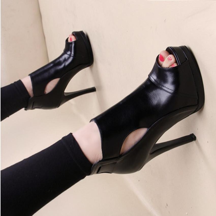 黑色鱼嘴鞋 夏季黑色鱼嘴凉鞋高跟鞋防水台细跟单鞋子2020春秋新款时尚女凉靴_推荐淘宝好看的黑色鱼嘴鞋