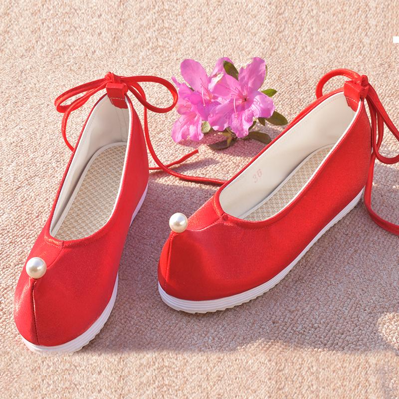 紫色平底鞋 绣花鞋汉服鞋子女内增高翘头纯色 弓鞋 布鞋红色平底古风淑女紫色_推荐淘宝好看的紫色平底鞋