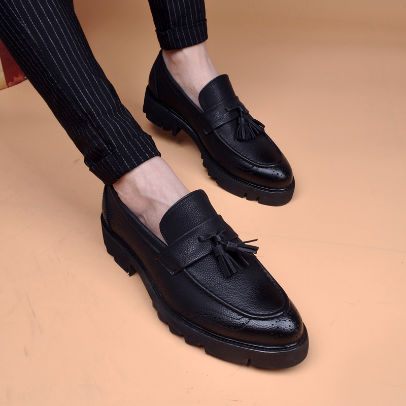 高跟尖头鞋 春款布洛克高跟流苏透气尖头男皮鞋商务休闲潮鞋约会皮鞋男内增高_推荐淘宝好看的高跟尖头鞋