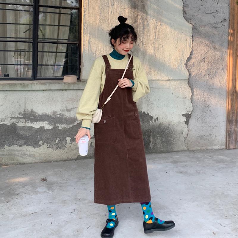 无袖连衣裙 复古灯芯绒背带裙秋装2019年新款韩版气质休闲显瘦无袖连衣裙女装_推荐淘宝好看的无袖连衣裙