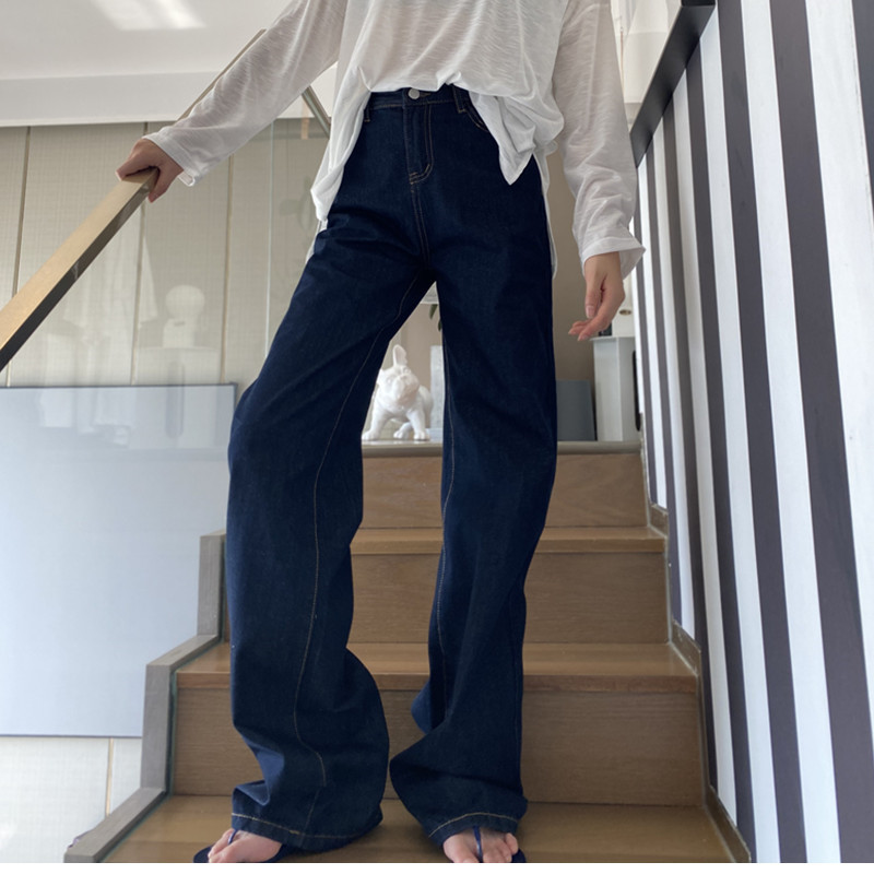 高腰牛仔裤 175高个子加长阔腿裤女裤牛仔裤新春夏泫雅深蓝高腰宽松显瘦复古_推荐淘宝好看的女高腰牛仔裤
