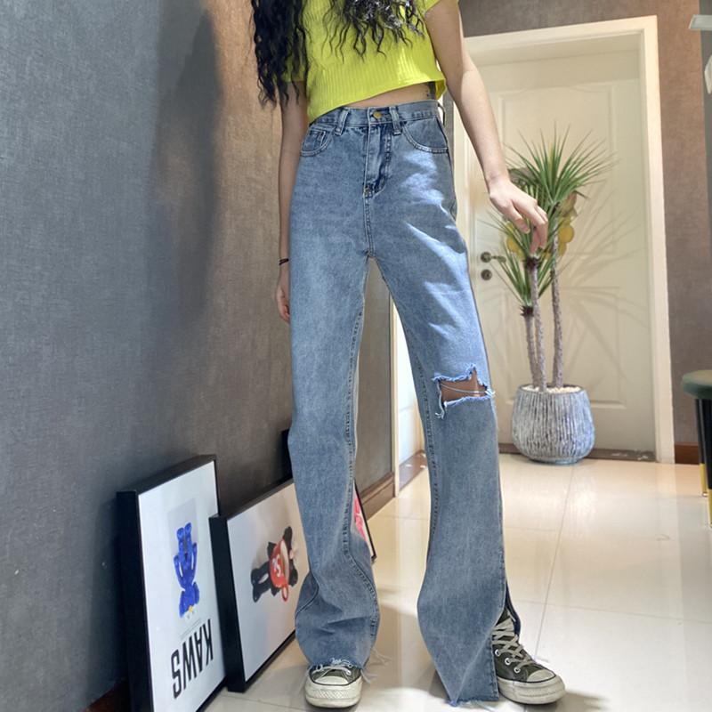 修身牛仔裤 175加长微喇叭牛仔裤女裤2021春款新时尚性感膝盖破洞显瘦修身潮_推荐淘宝好看的女修身牛仔裤