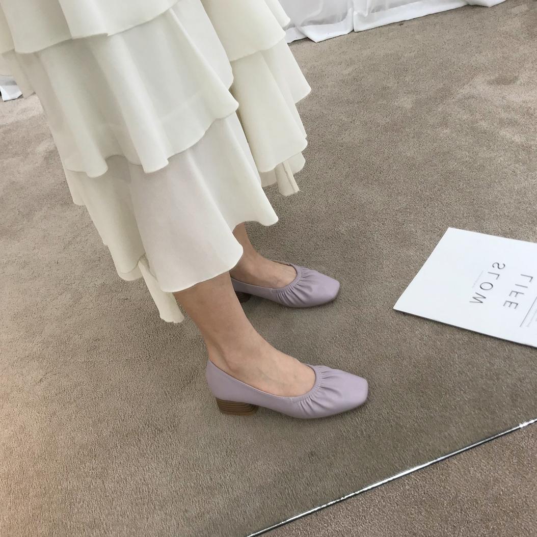 紫色单鞋 自留款~单鞋女粗跟韩国软皮方头仙女风紫色褶皱奶奶鞋软底高跟鞋_推荐淘宝好看的紫色单鞋