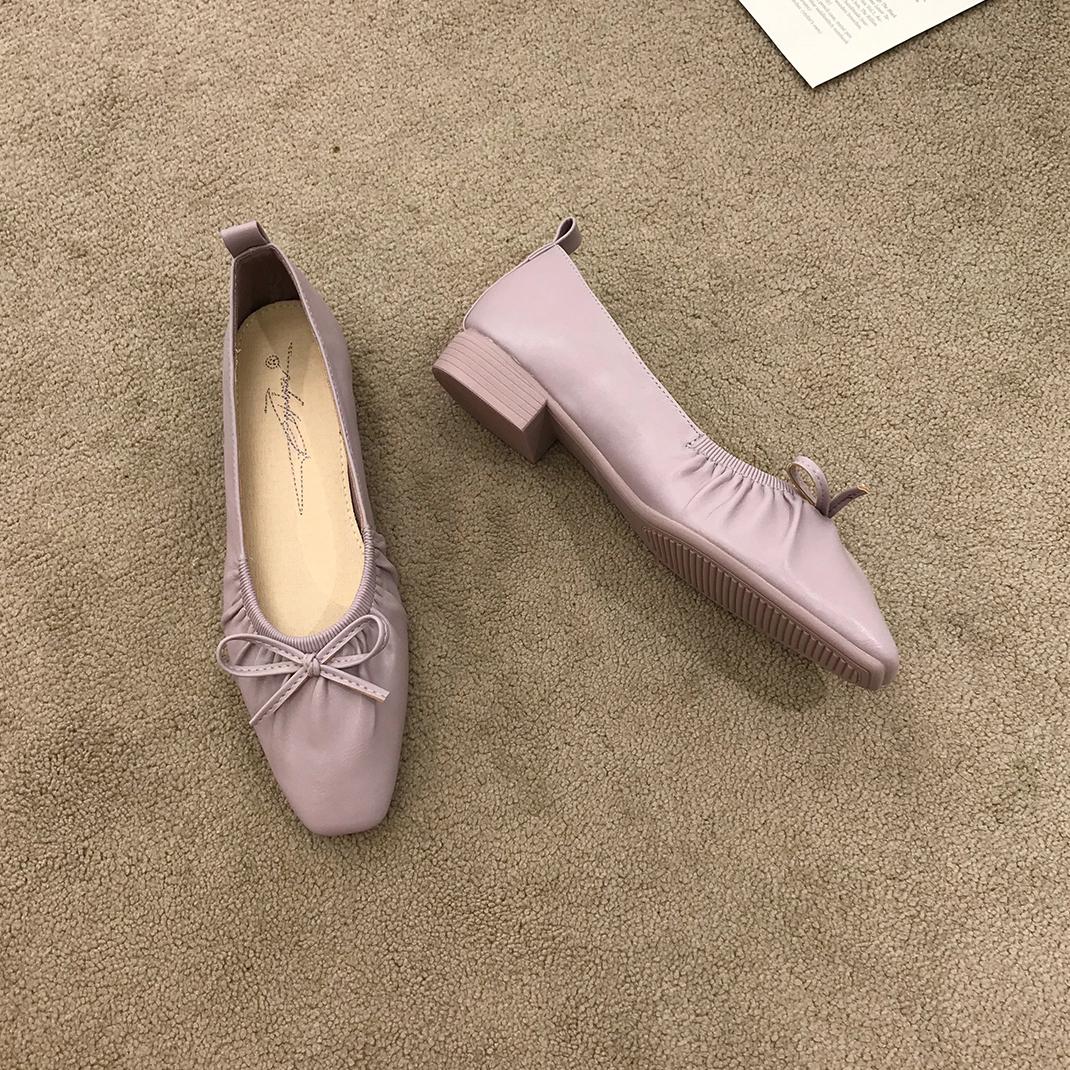 紫色单鞋 韩国款~紫色褶皱蝴蝶结粗跟奶奶鞋气质仙女温柔风单鞋软底豆豆鞋_推荐淘宝好看的紫色单鞋