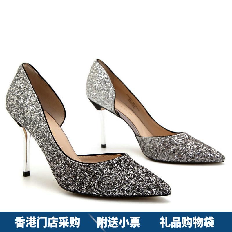高跟鞋 香港代购小ck女鞋侧镂空宴会性感尖头水晶亮片细跟高跟婚鞋新娘鞋_推荐淘宝好看的女高跟鞋