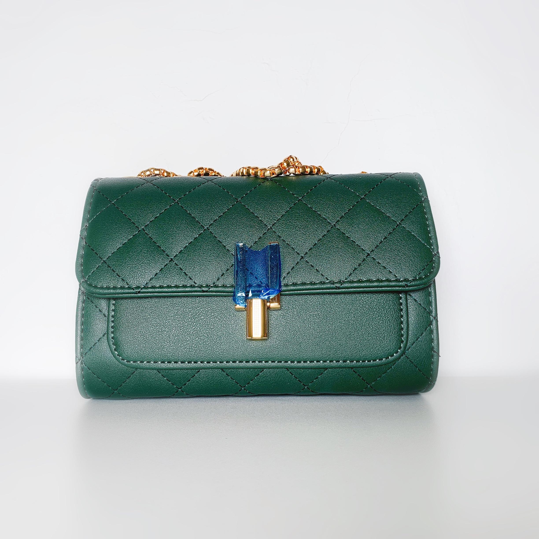 绿色手拿包 菱格链条小包包女斜挎单肩手拿新款潮流包百搭墨绿色链条包性感_推荐淘宝好看的绿色手拿包