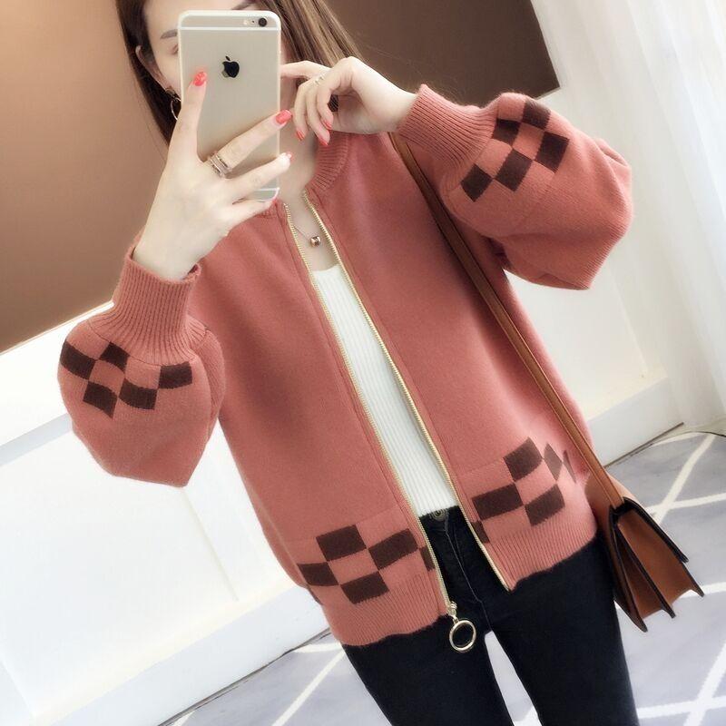 针织衫 P23春新款韩版女装短款拼色外搭针织开衫宽松灯笼袖毛衣外套女_推荐淘宝好看的女针织衫