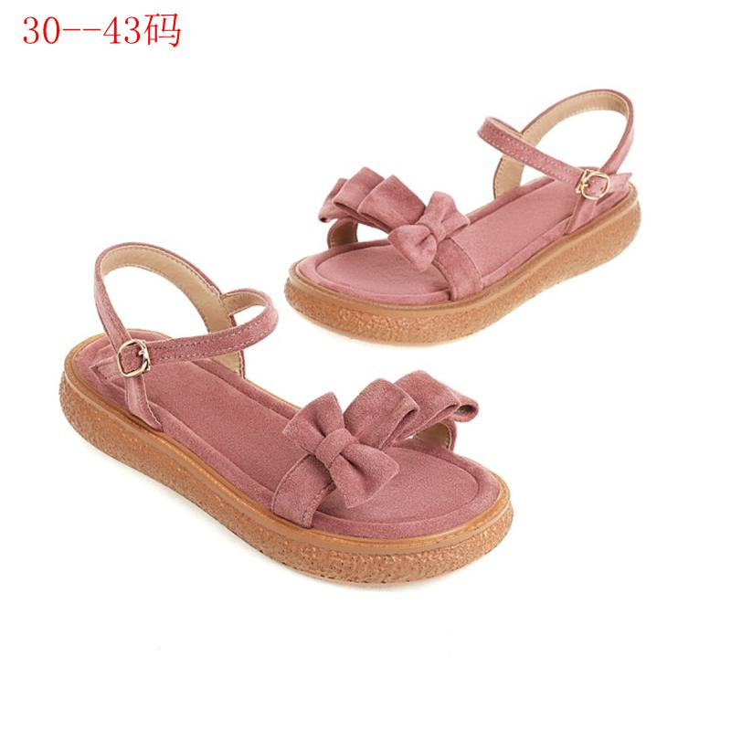 粉红色罗马鞋 粉红色小码凉鞋30-31 32 33特大码女鞋41-43女仙女风沙滩罗马鞋_推荐淘宝好看的粉红色罗马鞋