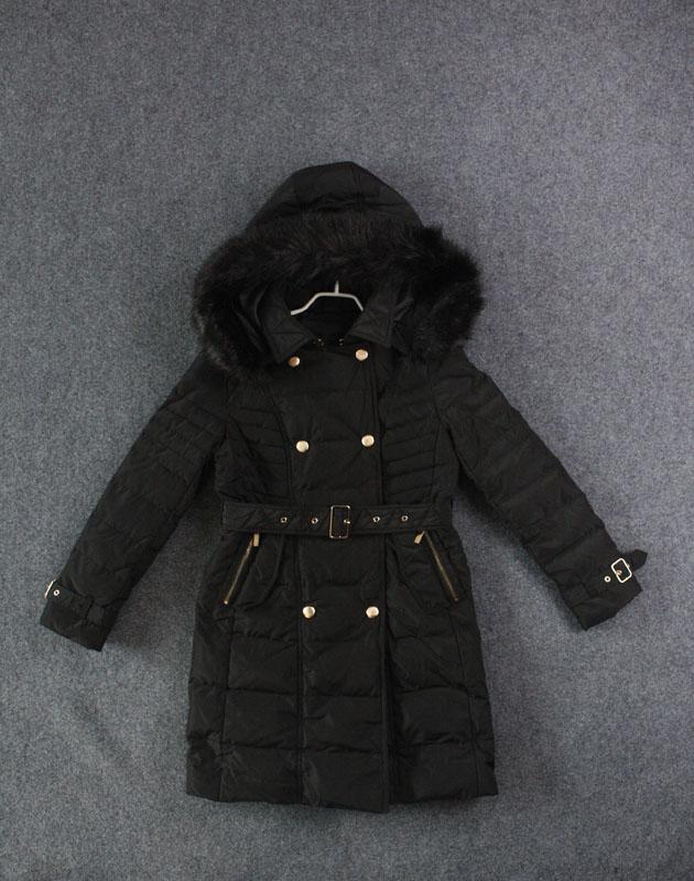 艾格羽绒服 艾格冬装 甜美百搭黑色系带中长款显瘦保暖羽绒服_推荐淘宝好看的艾格羽绒服