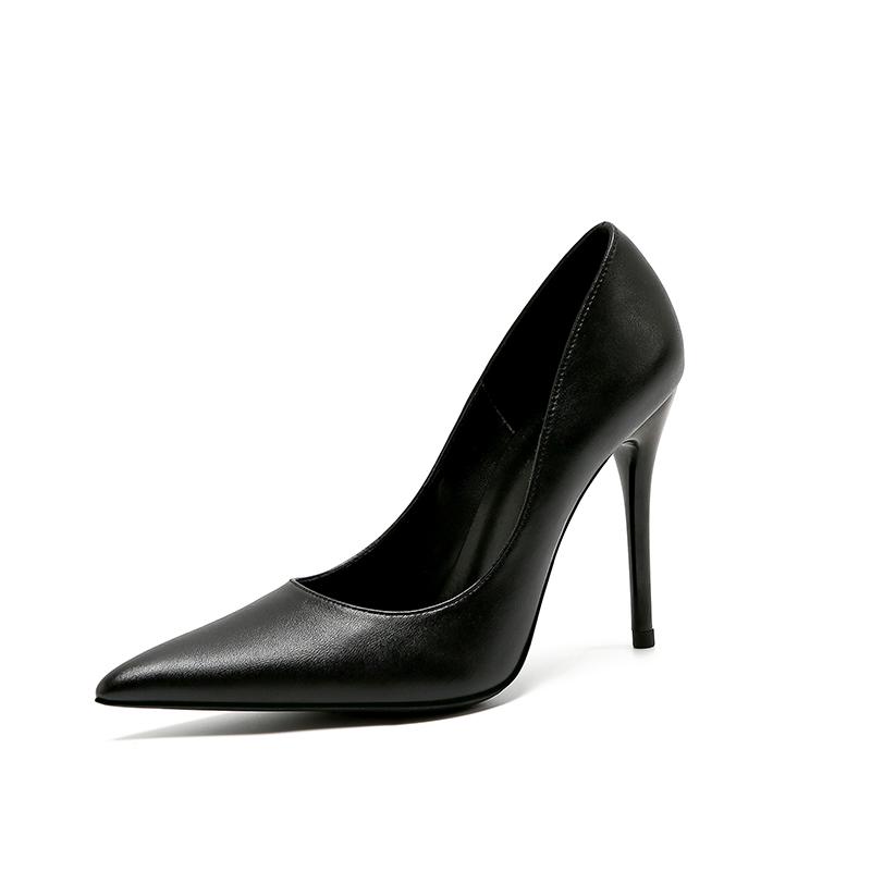 细跟性感高跟鞋 细跟超尖头女单鞋2020秋新款ol性感浅口宴会鞋社交职业黑色高跟鞋_推荐淘宝好看的细跟性感高跟鞋