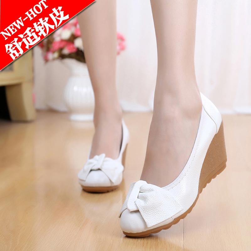 白色高跟鞋 春秋季坡跟浅口白色皮鞋女高跟鞋护士工作鞋小白鞋单鞋真皮妈妈鞋_推荐淘宝好看的白色高跟鞋