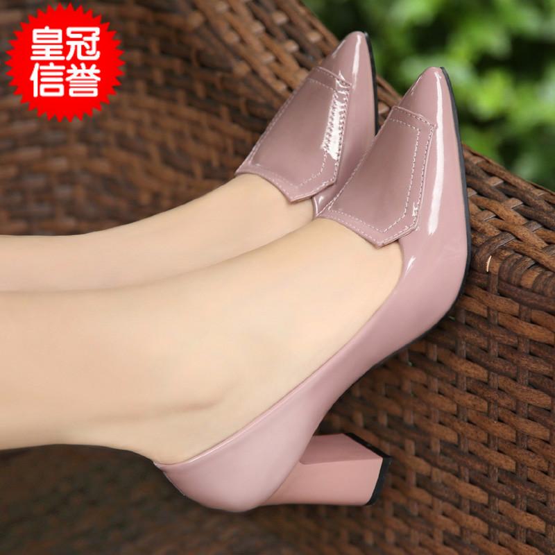 粗跟高跟鞋 春季新款粗跟单鞋高跟鞋32-40韩版职业尖头女鞋小码中跟工作鞋子_推荐淘宝好看的女粗跟高跟鞋