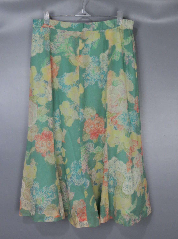绿色雪纺半身裙搭配 Vintage 古着正品中古90年代日本产夏季绿色碎花雪纺大花色半身裙_推荐淘宝好看的绿色雪纺半身裙