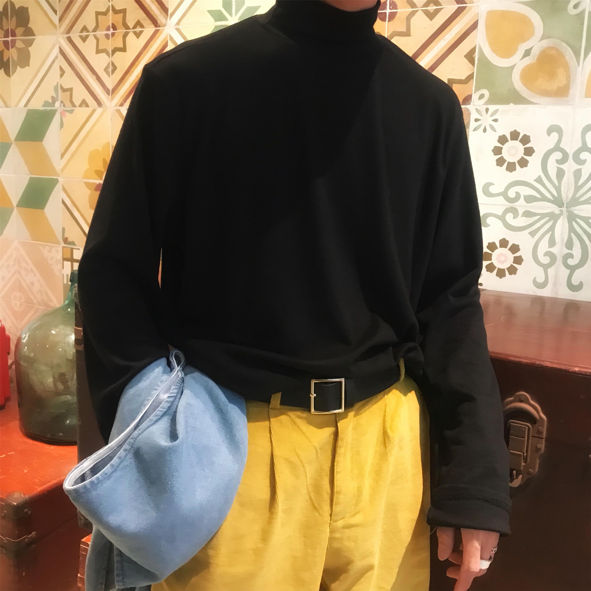 t恤 C2原创万年打底小高领T恤衫男黑色显瘦百搭韩版体恤纯色上衣男女_推荐淘宝好看的女t恤