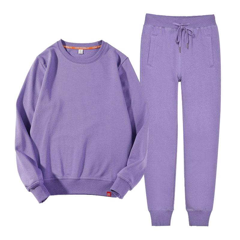 紫色卫衣 紫色运动套装女秋装2021年新款宽松薄款休闲服纯色圆领卫衣两件套_推荐淘宝好看的紫色卫衣