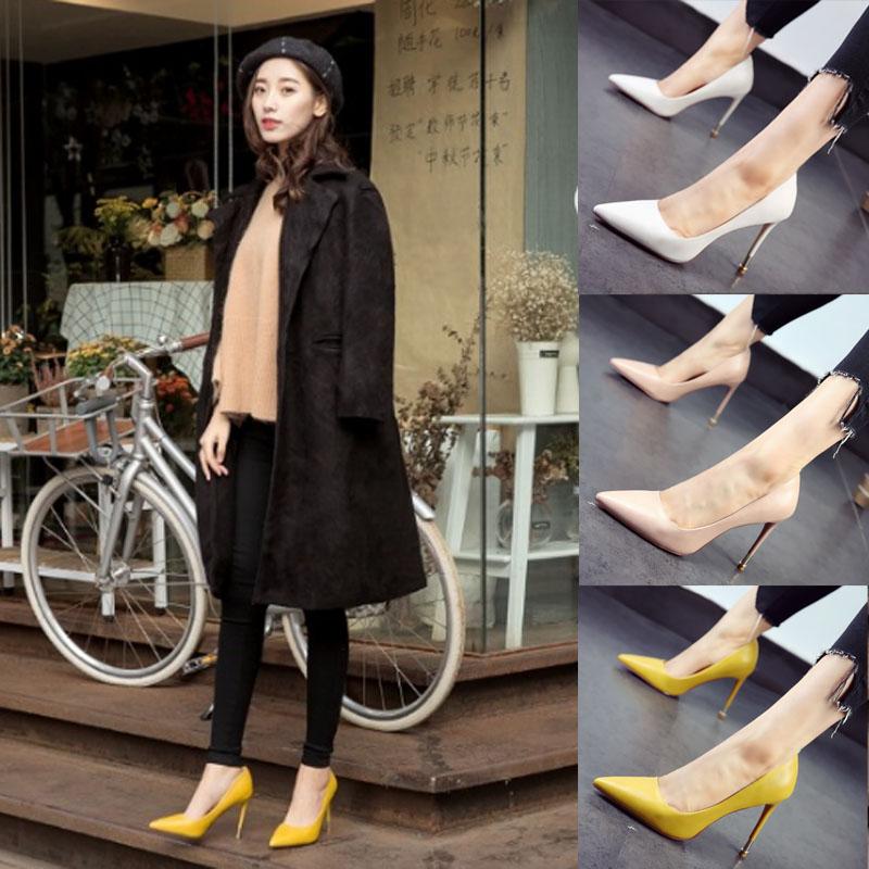 黄色高跟鞋 韩国黑色单根高跟鞋2021漆皮细跟白色女鞋尖头黄色单鞋粉色工作鞋_推荐淘宝好看的黄色高跟鞋