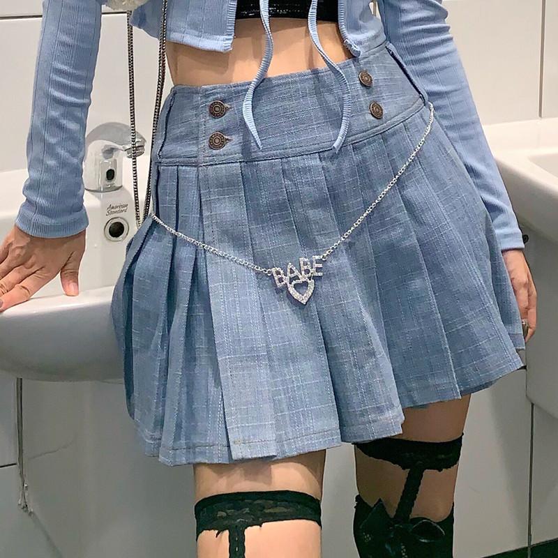 牛仔半身裙 AMAMAY 8090s复古霹雳女孩超火一片式洗水牛仔百褶半身裙_推荐淘宝好看的牛仔半身裙
