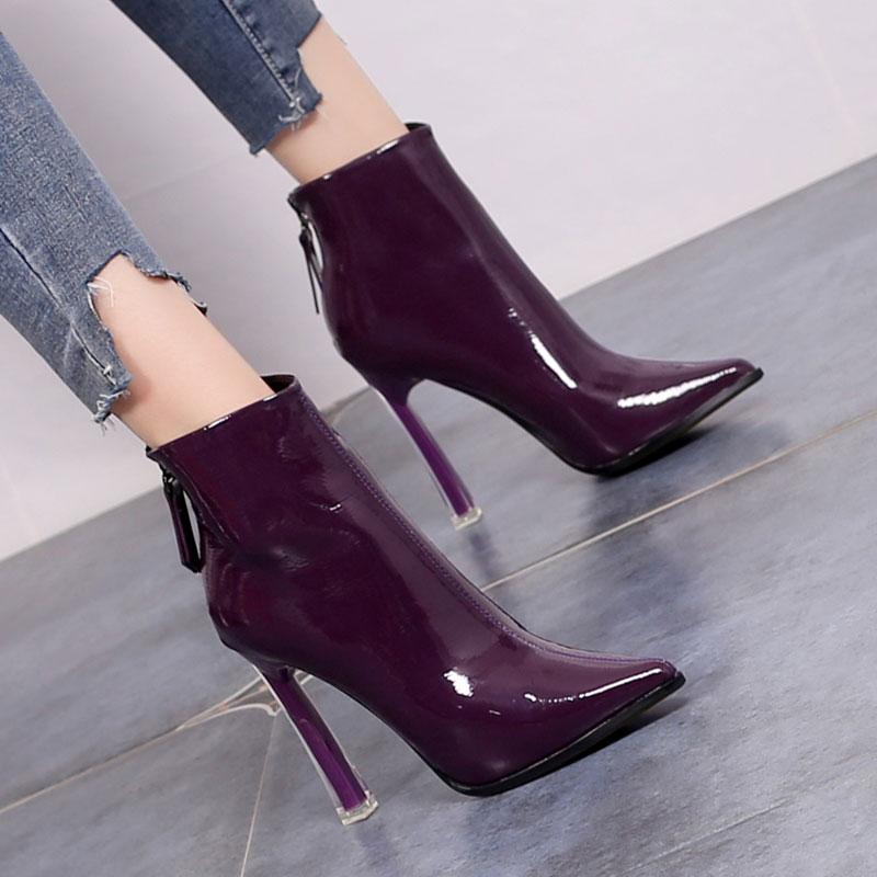 紫色高跟鞋 10.5CM防水台漆亮皮短靴女冬季高跟鞋粗跟后拉链春秋单靴黑米紫色_推荐淘宝好看的紫色高跟鞋