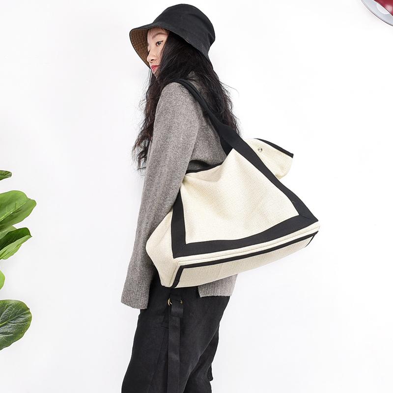 欧美时尚手提包 澄心女子原创拼接设计大容量手提包简约欧美风棉麻包包女2020新款_推荐淘宝好看的女欧美手提包