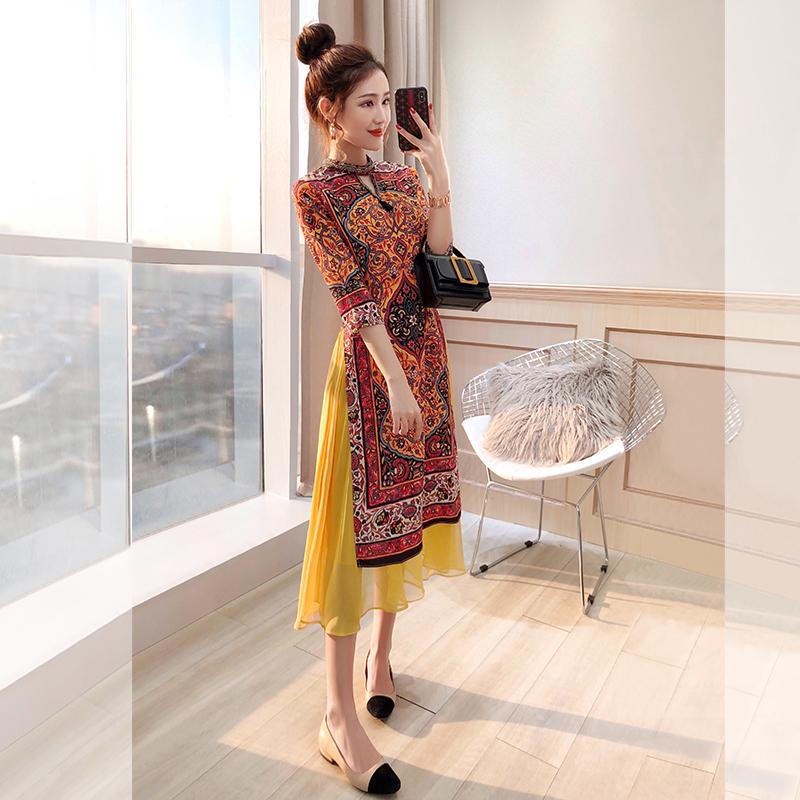 黄色连衣裙 中国风女装唐装民族风2020年新款春装新式御姐风旗袍改良版连衣裙_推荐淘宝好看的黄色连衣裙