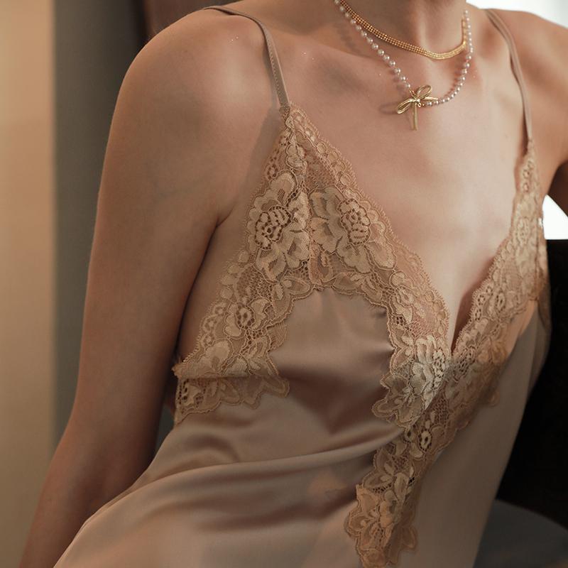 睡裙 晚安时光 性感睡衣夏季薄款吊带睡裙夏薄款性感蕾丝睡衣女家居服_推荐淘宝好看的睡裙