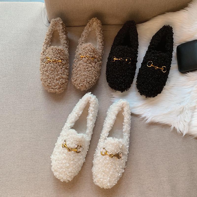 白色豆豆鞋 毛毛鞋女冬外穿厚底2020新款白色加绒羊羔毛平底豆豆网红秋季单鞋_推荐淘宝好看的白色豆豆鞋