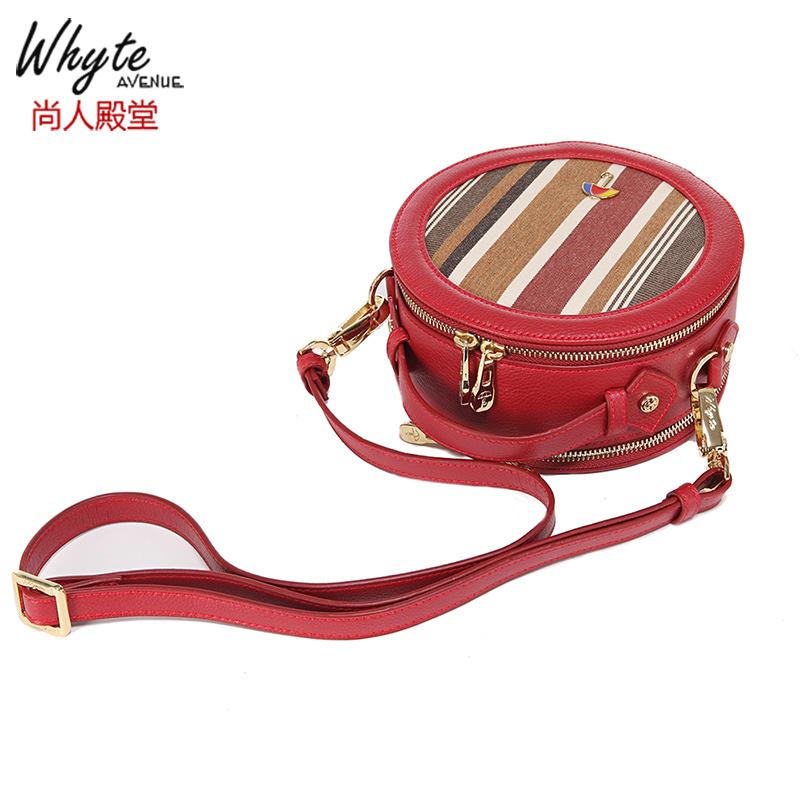 红色帆布包 尚人殿堂新款红色手提包小圆包条纹帆布包斜挎包女包sunbrella料_推荐淘宝好看的红色帆布包