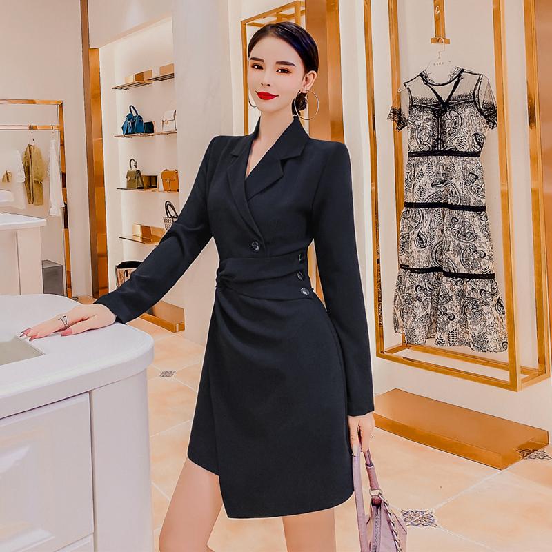 短袖小西装 职业女神范西装连衣裙女2020年夏季新款气质收腰短袖小个子西装裙_推荐淘宝好看的女短袖小西装