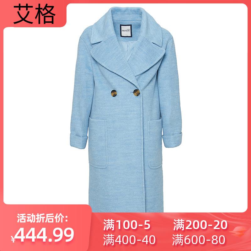 艾格女装折扣店 艾格冬季女装休闲时尚纯色中长款毛呢大衣Y450_推荐淘宝好看的艾格女装