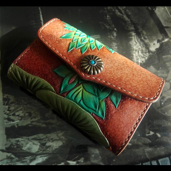 绿色钱包 手工真皮男包女包订制皮雕彩绘女款绿色水浮莲名片盒卡包零钱包_推荐淘宝好看的绿色钱包