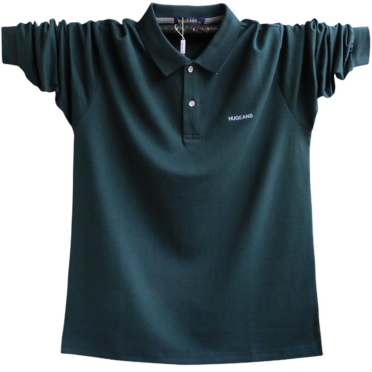 绿色T恤 春装新款特大码衬衫领纯棉肥佬T恤POLO男士加肥加大宽松长袖体恤_推荐淘宝好看的绿色T恤