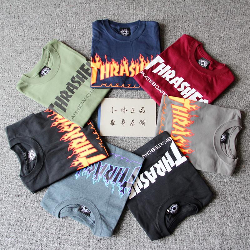 紫色T恤 美国购回Thrasher Flame火焰T恤短袖打底衫情侣款焰火纯棉滑板TEE_推荐淘宝好看的紫色T恤