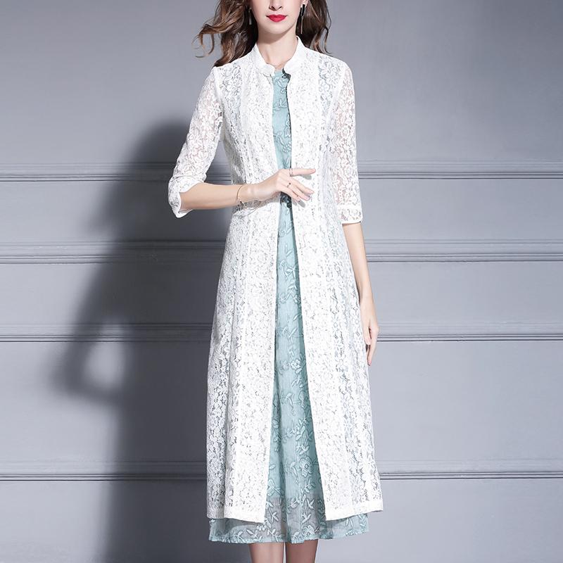 白色风衣 水墨青华时尚百搭七分袖中长款蕾丝开衫春秋女装风衣外套黑色白色_推荐淘宝好看的白色风衣