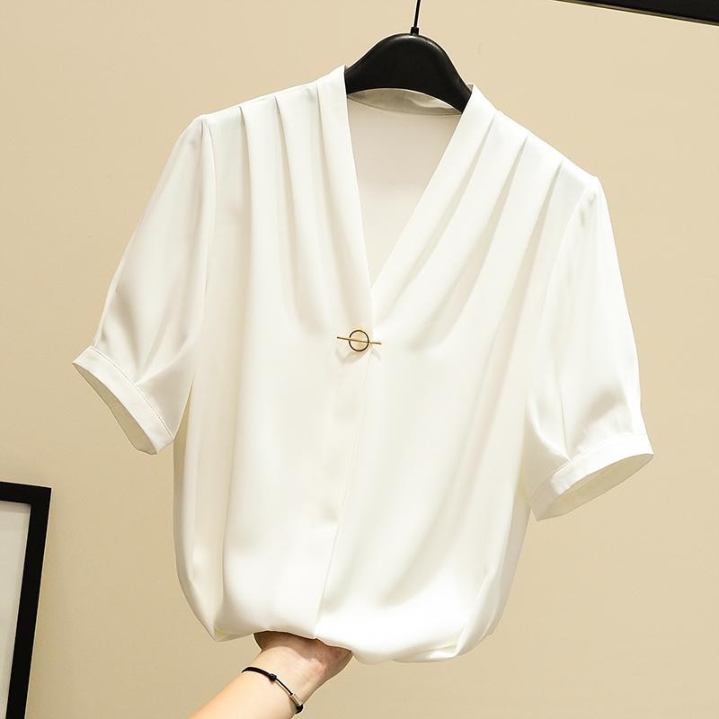 白色雪纺衫 白色衬衫女短袖雪纺衫2021夏装新款韩版v领套头上衣洋气小衫衬衣_推荐淘宝好看的白色雪纺衫