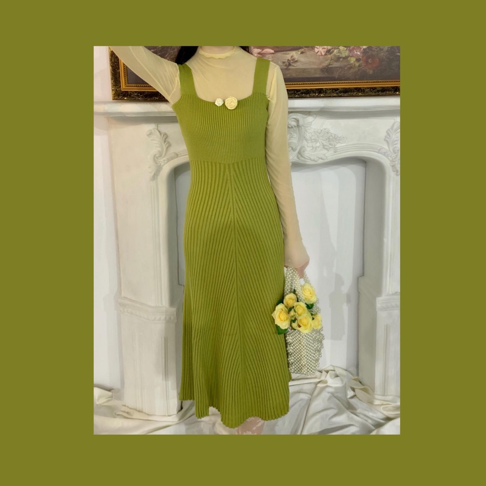 绿色连衣裙 晚时光 秋 复古奶油绿色针织连衣裙 黑色卡其色酒红色针织吊带裙_推荐淘宝好看的绿色连衣裙