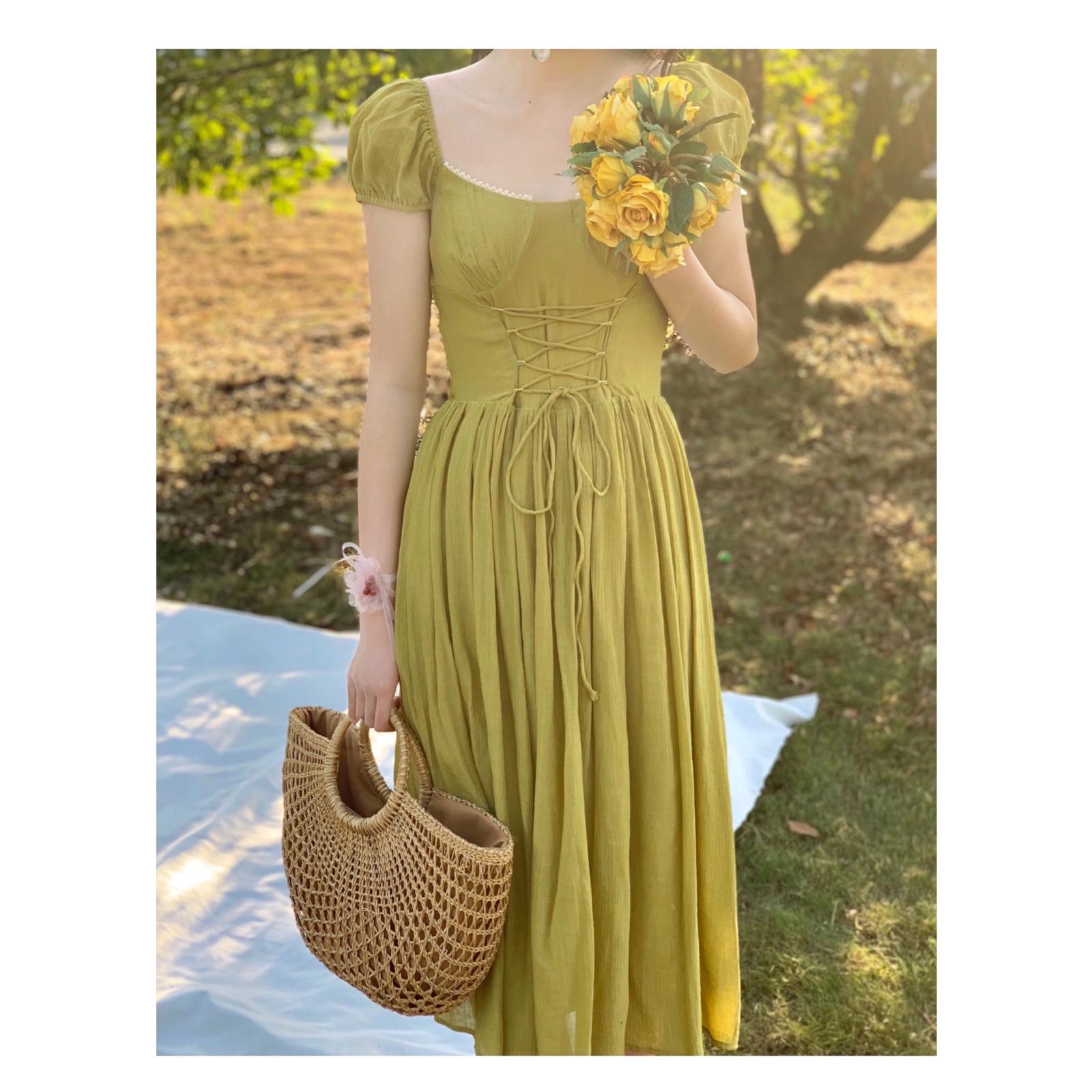 绿色连衣裙 晚时光2021新夏复古法式束腰抽绳连衣裙绿色橘色连衣裙中长大摆裙_推荐淘宝好看的绿色连衣裙