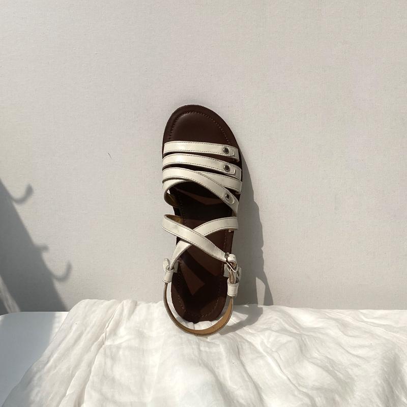 白色罗马鞋 阿马司2021年新款法式复古罗马凉鞋女夏平底真皮百搭仙女风白色鞋_推荐淘宝好看的白色罗马鞋