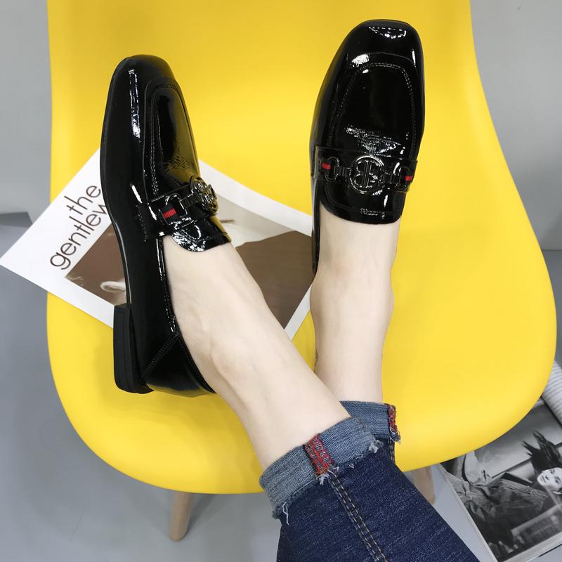 单鞋 软皮女鞋2020春秋新款韩版百搭网红平底小皮鞋漆皮方头乐福鞋单鞋_推荐淘宝好看的女单鞋