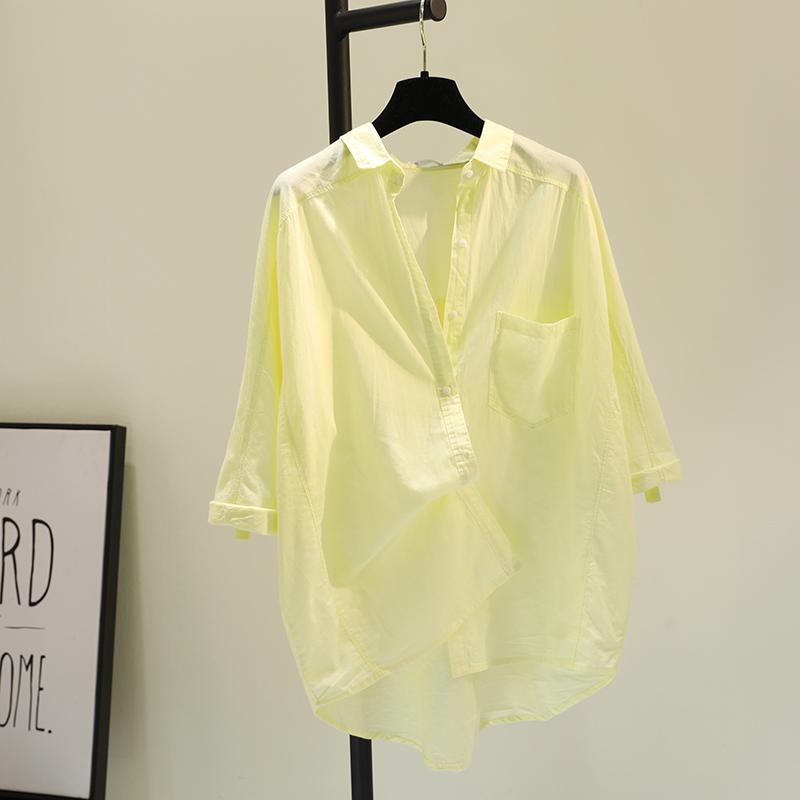 黄色衬衫 嫩黄色单口袋薄款棉麻衬衫女2021春季新款插肩袖宽松休闲衬衣上衣_推荐淘宝好看的黄色衬衫