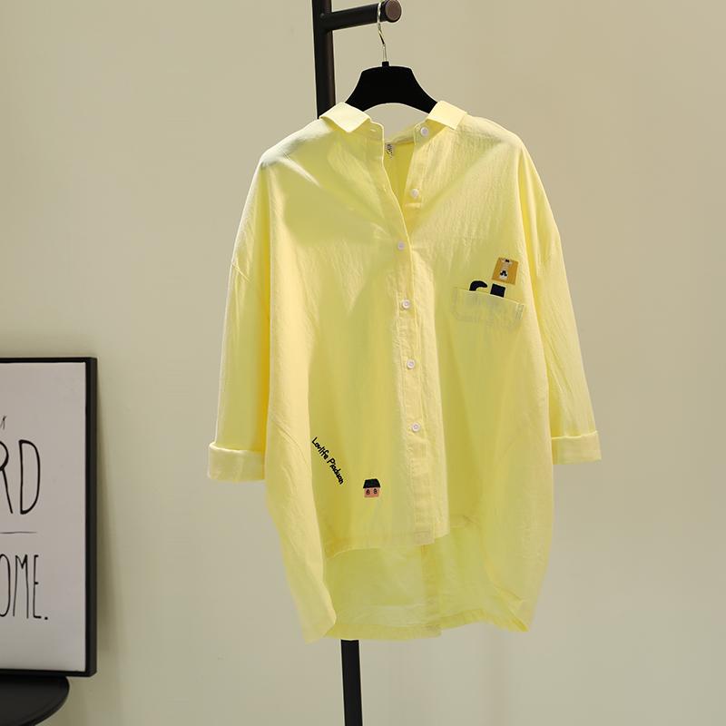 黄色衬衫 刺绣棉麻衬衫女2021春季新款韩范文艺小清新衬衣前短后长黄色上衣_推荐淘宝好看的黄色衬衫