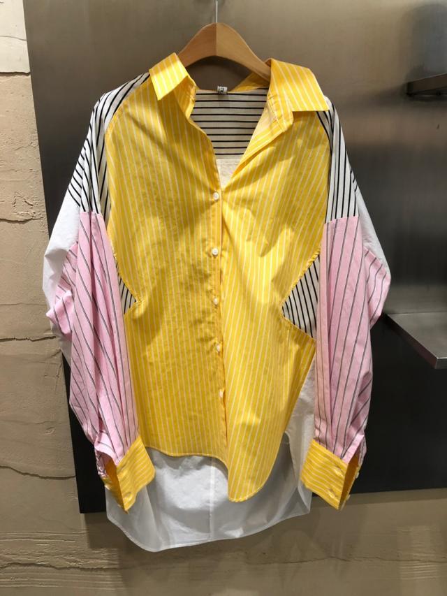 撞色衬衫 韩国东大门2020春夏新撞色条纹polo领心机上衣设计感中长款衬衫女_推荐淘宝好看的女撞色衬衫