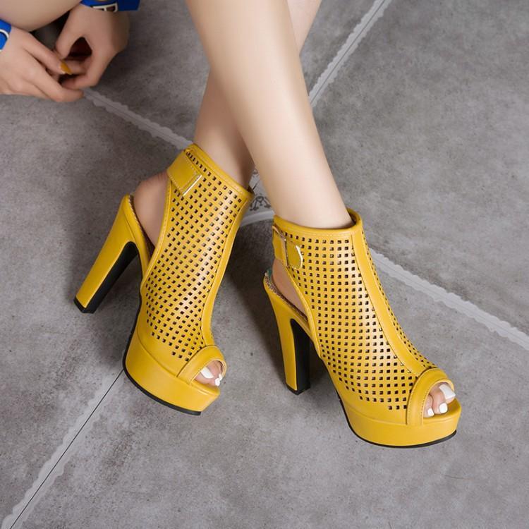 黄色罗马鞋 蓝色黄色白色红色凉鞋夏季鱼嘴鞋防水台高跟罗马凉鞋大码凉鞋 HSY_推荐淘宝好看的黄色罗马鞋