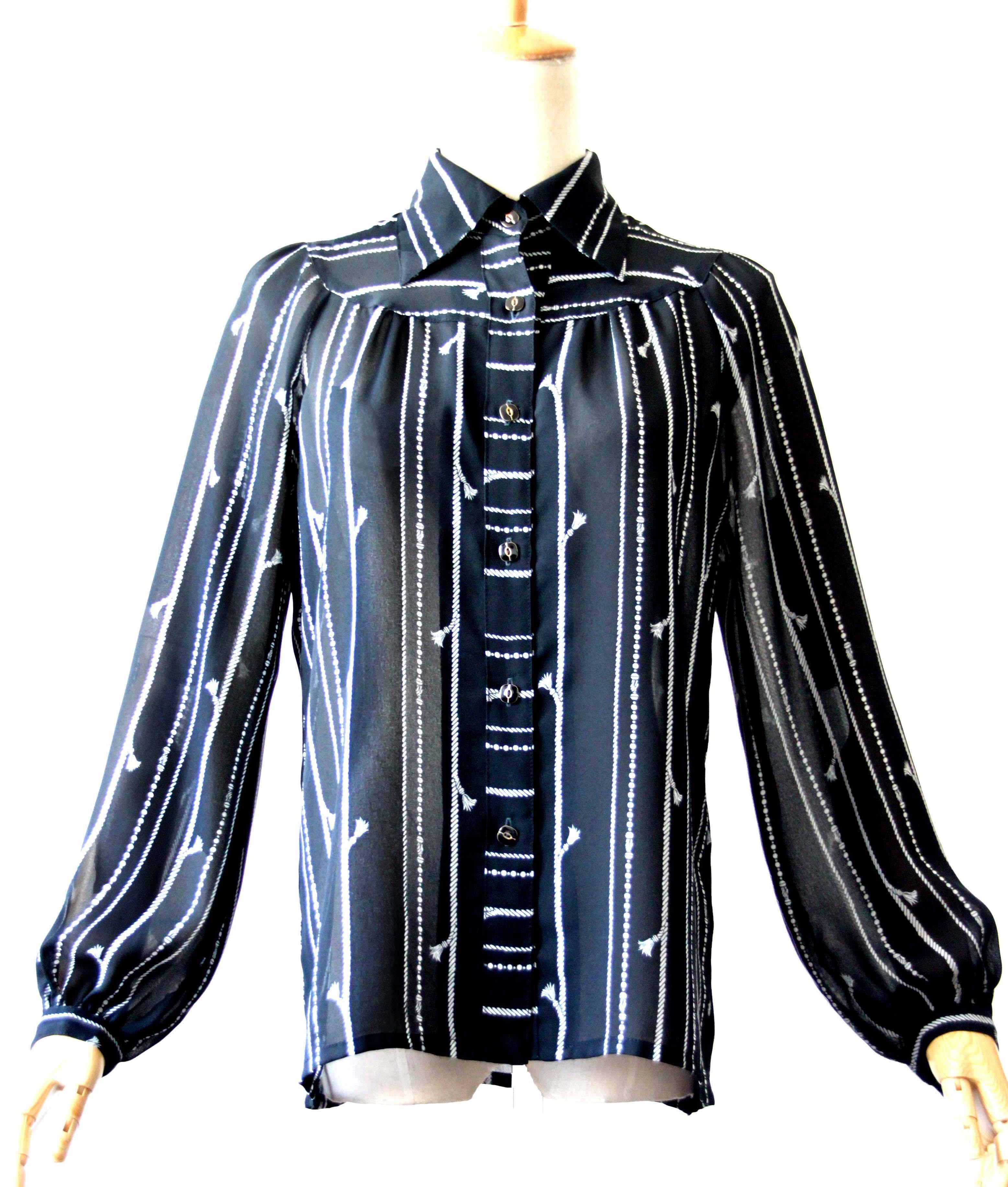 女士长袖雪纺衫 vintage古着 文艺气质小链条黑色雪纺长袖通透推荐女士衬衫复古_推荐淘宝好看的女士长袖雪纺衫
