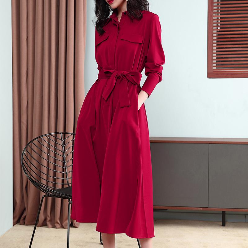 红色连衣裙 2021春夏新款红色收腰显瘦显高休闲法国工装长袖衬衫连衣裙敬酒服_推荐淘宝好看的红色连衣裙