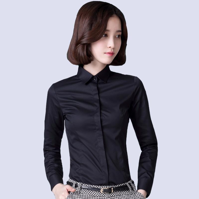黑色衬衫 春季纯黑色长袖衬衫女商务休闲职业工装衬衣女弹力免烫工作服寸杉_推荐淘宝好看的黑色衬衫