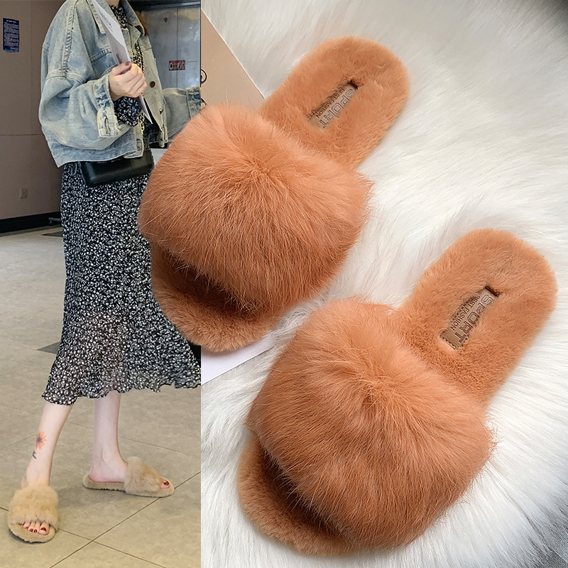 糖果色时尚平底鞋 韩国时尚兔毛平底女拖鞋2020春季新款一字糖果色时尚外穿毛毛拖鞋_推荐淘宝好看的女糖果色时尚平底鞋