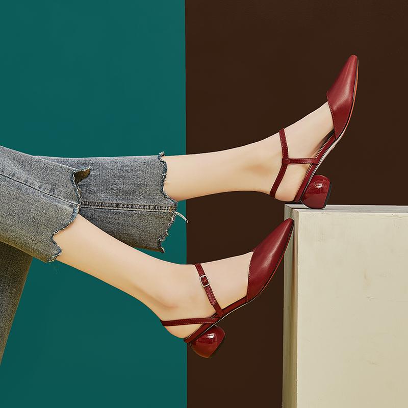 红色凉鞋 尖头包头凉鞋女2021年新款粗跟晚晚温柔仙女中跟单鞋红色高跟鞋女_推荐淘宝好看的红色凉鞋