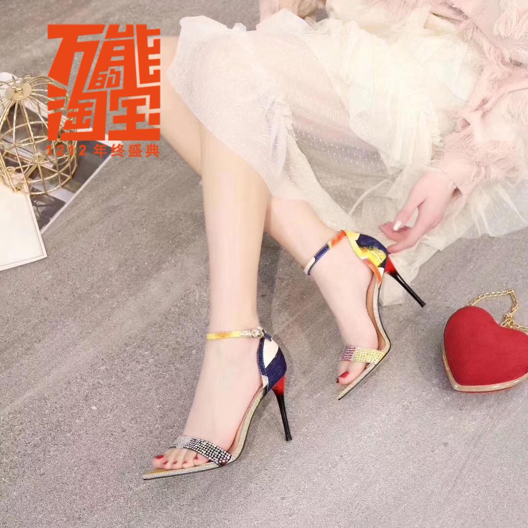 紫色凉鞋 女士新款紫色年橡胶胶夏季2021高跟包跟细跟扣带水钻超高跟凉鞋_推荐淘宝好看的紫色凉鞋